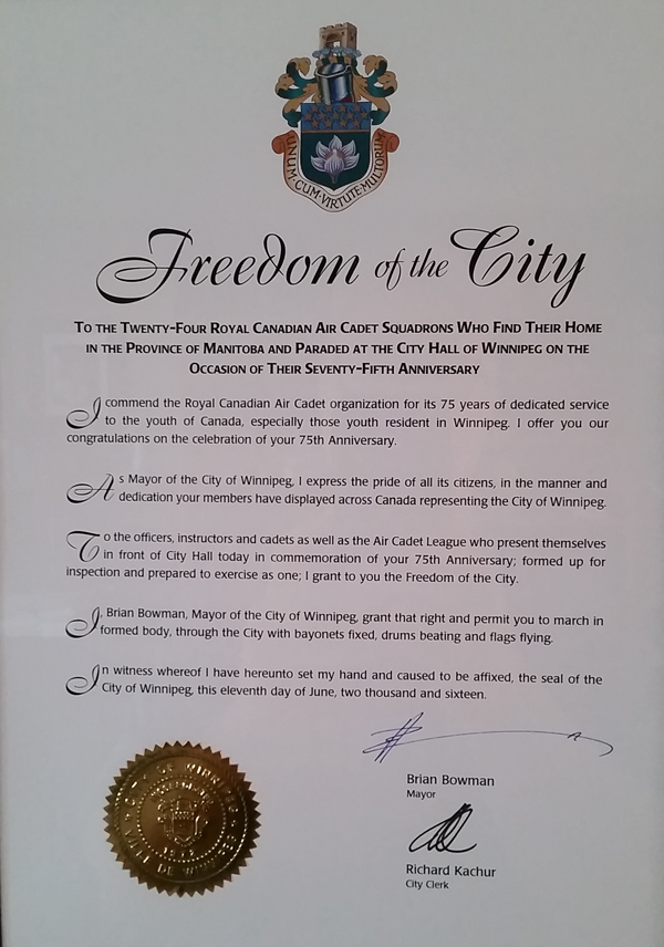 75th Anniversary Freedom-of-the-City Proclamation