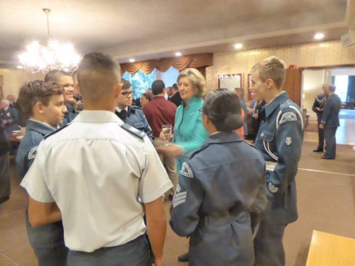 Lieutenant Govenor speaking with cadets